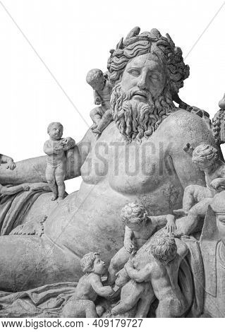 Ancient bust of Nile river god. Head and shoulders detail of the ancient man with beard sculpture. Antique statue isolated on white background