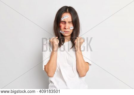 Patient Insulted Woman Clenches Fists Tries To Control Emotions Gets Beating From Drunk Husband Has