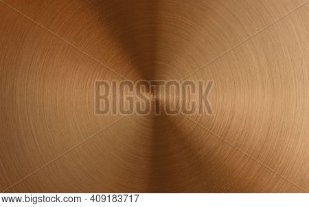 Shiny Round Brushed Copper Metallic Surface. Industry Background Mit Space For Text. Top View.