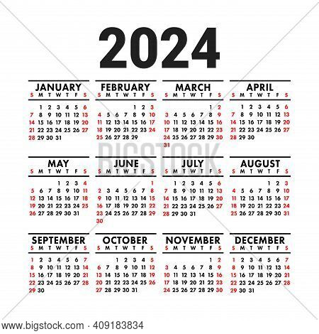 Calendar 2024. English Vector Square Wall Or Pocket Calender Design Template. New Year. Week Starts