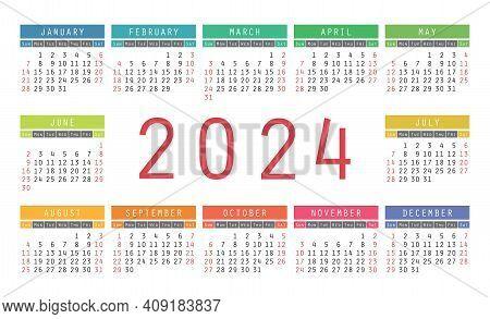 Calendar 2024 Year. English Colorful Vector Horizontal Wall Or Pocket Calender Design Template. New