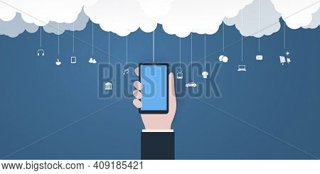Abstract Blue Minimal Style Cloud Computing, Networks, Business Mobile Telecommunications Concept De