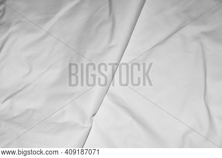 Pleated White Cotton Material. Texture Or Background
