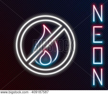 Glowing Neon Line No Fire Icon Isolated On Black Background. Fire Prohibition And Forbidden. Colorfu