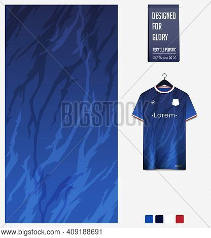 Fabric Pattern Design. Abstract Pattern On Blue Gradient Background For Soccer Jersey, Football Kit,