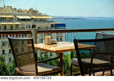 Thessaloniki,  Greece - July 31, 2017 : Great View From A Rooftop From A Luxury Hotel In Thessalonik