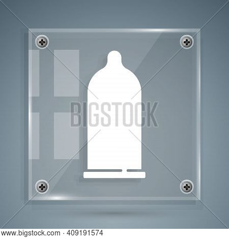 White Condom Safe Sex Icon Isolated On Grey Background. Safe Love Symbol. Contraceptive Method For M
