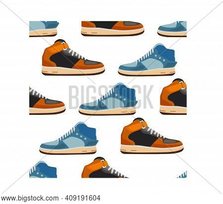 Cartoon Sneakers Seamless Texture. Fashionable Sneakers Side View. Flat Style. Vector Illustration