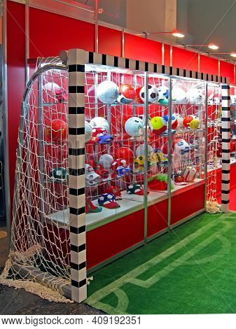 Kiev - March 01: Football Gates With Souvenir Soccer Balls Heap With Football Emblem On March 01, 20