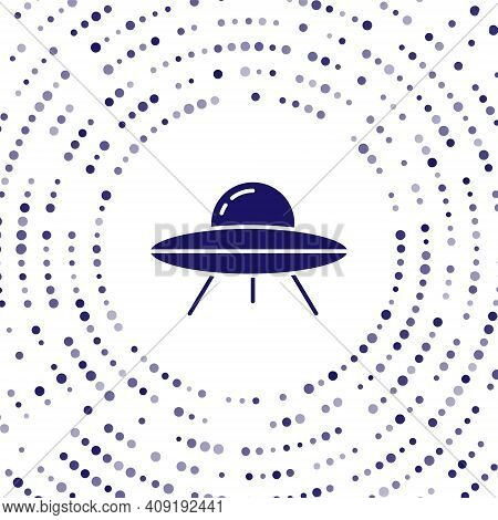 Blue Ufo Flying Spaceship Icon Isolated On White Background. Flying Saucer. Alien Space Ship. Futuri