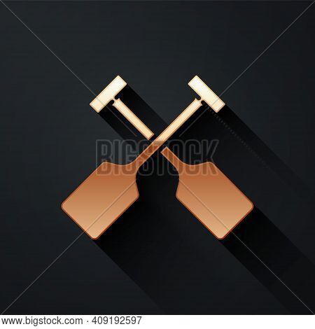 Gold Paddle Icon Isolated On Black Background. Paddle Boat Oars. Long Shadow Style. Vector