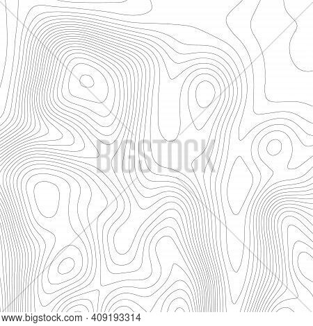 Topographic Texture Map On White Background. Topo Map Elevation Lines. Contour Vector Abstract Vecto