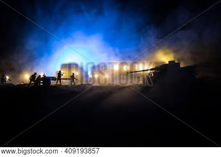 War Concept. Military Silhouettes Fighting Scene On War Fog Sky Background. Attack Scene. Armored Ve