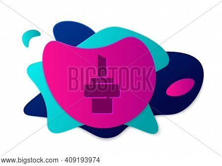 Color Wooden Cork For Wine Icon Isolated On White Background. Abstract Banner With Liquid Shapes. Ve