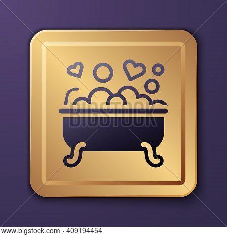 Purple Romantic In Bathroom Icon Isolated On Purple Background. Concept Romantic Date. Romantic Bath