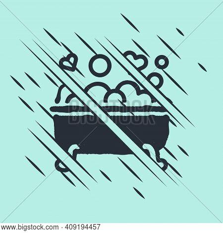 Black Romantic In Bathroom Icon Isolated On Green Background. Concept Romantic Date. Romantic Bathro