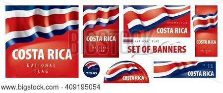 Vector Set Of Banners With The National Flag Of The Costa Rica