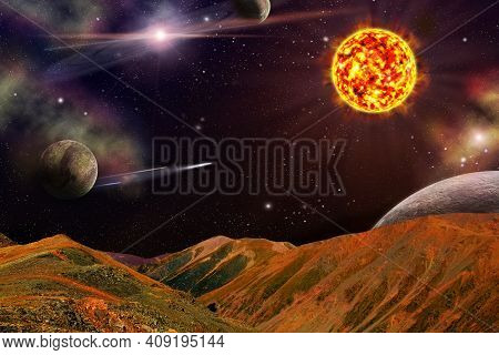 Fantastic View From The Red Earth To Space And Planets. Solar Activity, Destruction Of The Azone Lay