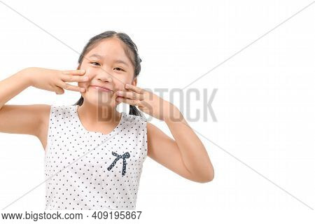Portrait Of Happy Smiling Child Girl Isolated On White Background With Copy Space, Child And Kid Con