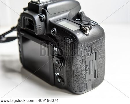 Photo Camera On White Background, Back And Side View Of Professional Dslr Camera Body, Card Block, S