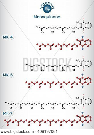 Vitamin K2, Menaquinone Molecule. Menatetrenone, Menachinon-4, Mk-4, Menachinon-5, Mk-5, Menachinon-
