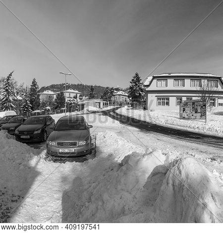 Kadan, Czech Republic - February 15, 2021: Sunny Winter In Vaclav Havel Street