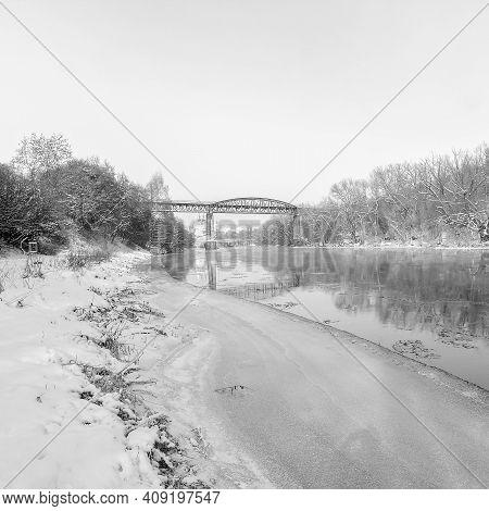 Kadan, Czech Republic - February 15, 2021: Ohre River In Winter