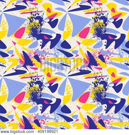 Unique Seamless Abstract Pattern With Chaotic Vector Shapes And Grunge Spots