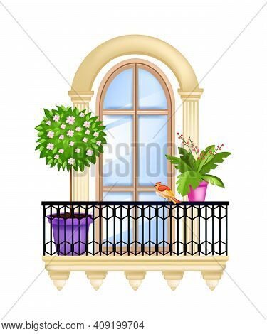 Vector House Window, Balcony Facade Spring Illustration, Blossom Tree, Green Home Plants, Iron Raili