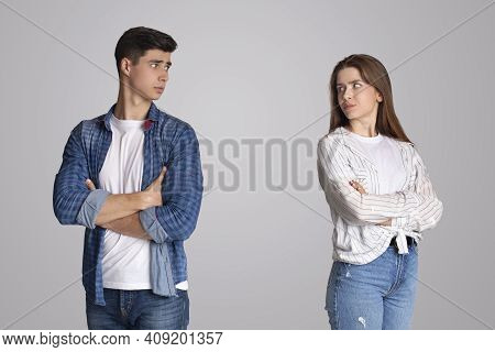Depressed Wife Quarreling With Husband, Serious Relations Communication Problems, Conflict And Negat
