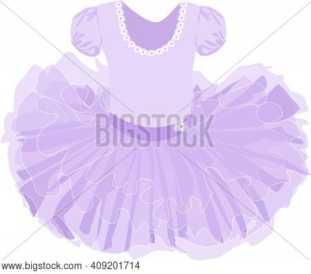 Vector Image Of A Children's Lush Ballet Tutu In Lilac Color