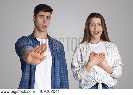Different Emotions, Joy And Rejection. Young Disgruntled Man Make Stop Gesture With Hand, Refuses Of