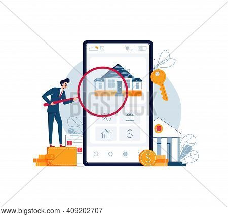 Home Appraisal Online. Banker Is Doing Property Inspection Of A House, Holding A Magnifying Glass. R