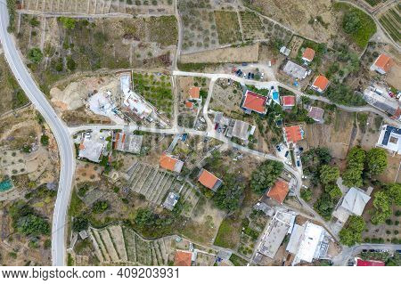Aerial Overhead Drone Shot Of Komiza Town Residents On Hill On Vis Island In Croatia Morning Before
