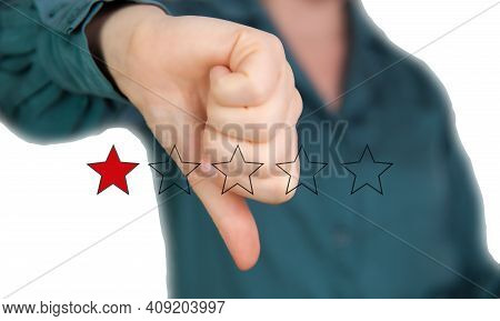 Bad Review, Thumb Down With Red Stars For Bad Service Dislike Bad Quality, Customer Experience, Rati