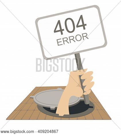 Error 404 Page Not Found Concept Illustration, Webpage Banner. Hand With Banner Error 404 Page Risin
