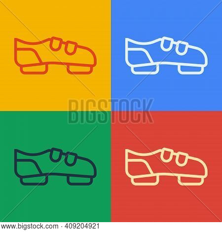 Pop Art Line Triathlon Cycling Shoes Icon Isolated On Color Background. Sport Shoes, Bicycle Shoes.