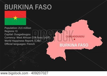 Highly Detailed Burkina Faso Map With Flag, Capital And Small Map Of The World