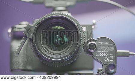 Moscow, Russia - December, 2020: Automatic Focus Adjustment On Camera. Action. Robotic Adjustment Of