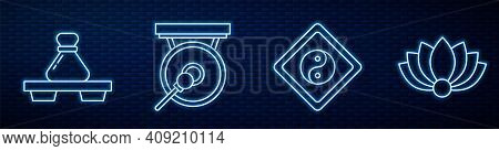 Set Line Yin Yang, Dumpling On Cutting Board, Gong, Lotus Flower And Gong. Glowing Neon Icon On Bric