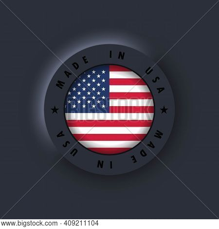 Made In United States. Usa Made. Usa Emblem, Label, Sign, Button, Badge. United States Flag. America