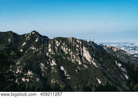 Mountain Tops In Bukhansan National Park, Seoul, South Korea.