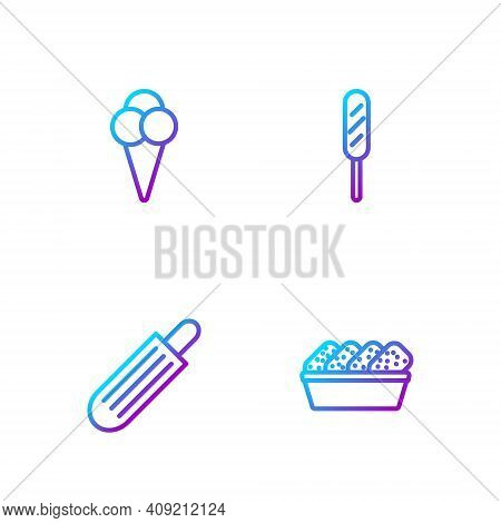 Set Line Chicken Nuggets In Box, French Hot Dog, Ice Cream Waffle Cone And Corn. Gradient Color Icon