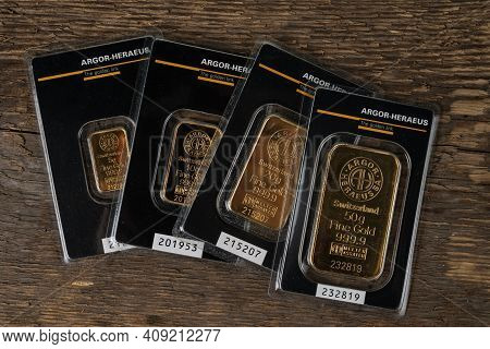 Kyiv, Ukraine - November 02, 2018: Four Small Minted Bars Produced By The Swiss Factory Argor-heraeu