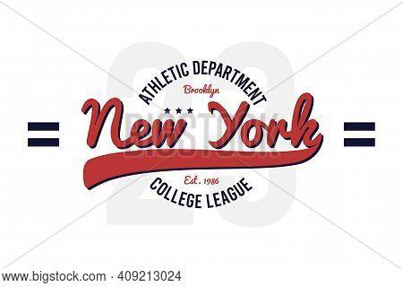 New York, Brooklyn Vintage College T-shirt Design. Typography Graphics For Retro Varsity Tee Shirt.