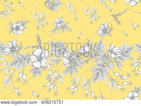 Rose Hips With Flowers And Berries Seamless Pattern. Graphic Drawing, Engraving Style. Vector Illust