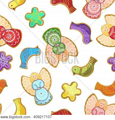 Seamless Pattern. Easter, Gingerbread. White Background With A Bright Multi-colored Easter Sweets.