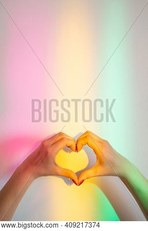 Love Sign. Romantic Sympathy. Peace Hope. Affection Desire. Female Hands Creating Heart Gesture On W