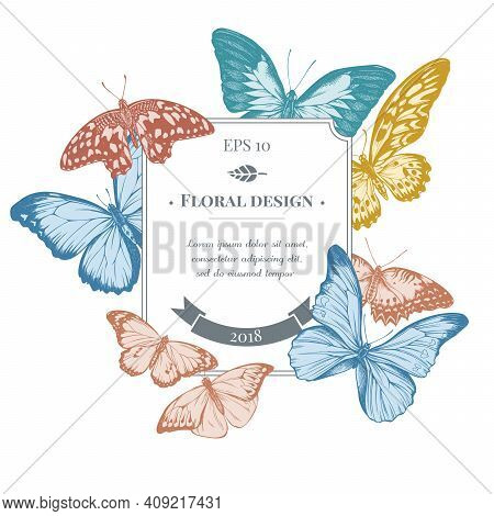 Badge Design With Pastel Blue Emperor, Menelaus Blue Morpho, Blue Morpho, Red Lacewing, African Gian