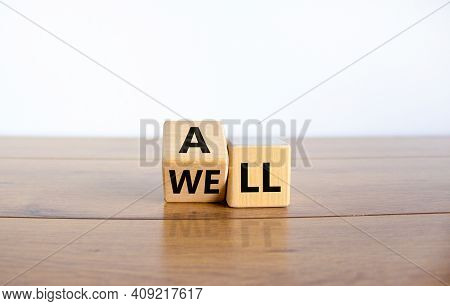 All Is Well Symbol. Turned Cubes With Words All Well. Beautiful Wooden Table, White Background, Copy
